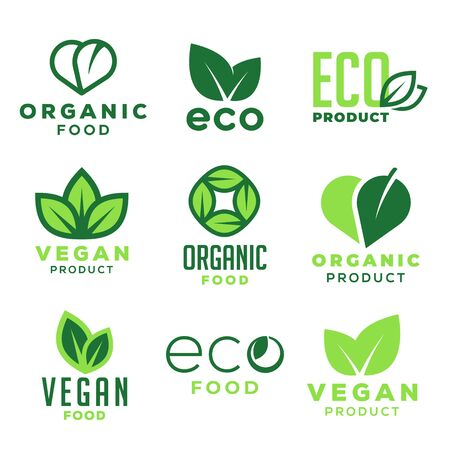 Eco food, vegan organic products and ecology. Set of design elements