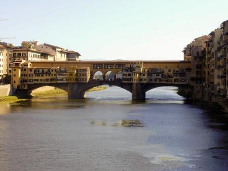 ponte vecchio: The covered bridge Ponte Vecchio in Florence, Italy. Stock Photo
