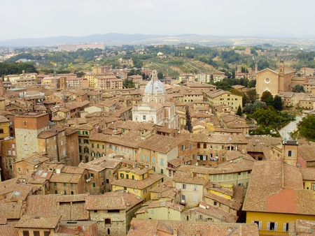 The Medieval cityscape of Siena, Italy located in Tuscany  Stock Photo