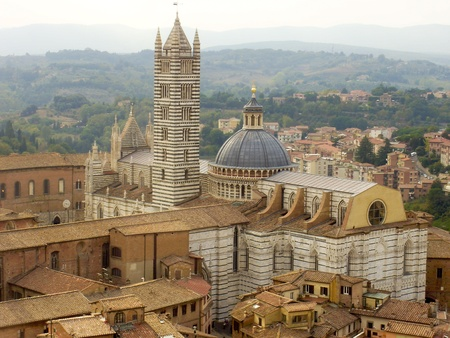 The beautiful Cathedral of Siena (Duomo di Siena) located in Siena, Italy. Stock Photo