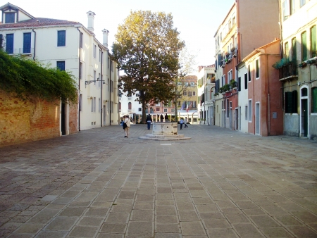 A quiet street in Venice, Italy. Stock Photo