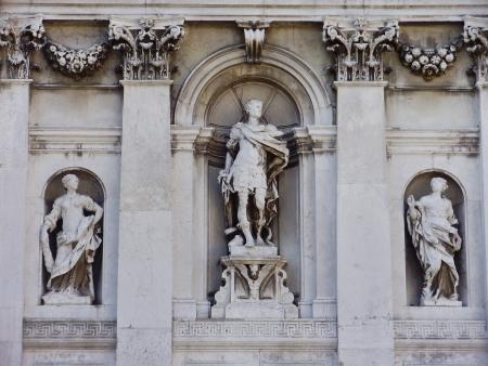 Statues at the Santa Maria della Salute in Venice, Italy. Stock Photo