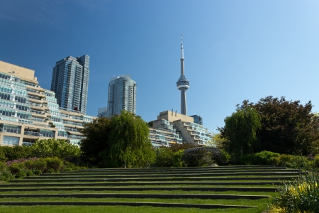 The CN Tower seen from the Harbourfront Music Garden Stock Photo - 14124161