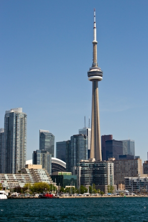 building cn tower: Downtown Toronto skyline with the CN Tower