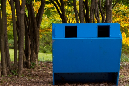 Recycling bin in the park   Horizontal composition with copy space  Stock Photo