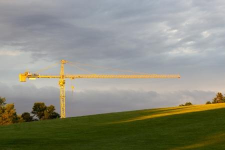 A construction crane seen from a park   Horizontal composition with copy space Stock Photo - 14312213