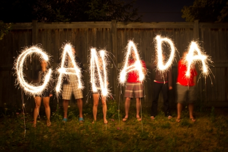 The word Canada in sparklers in time lapse photography as part of Canada Day (July 1) celebration. photo