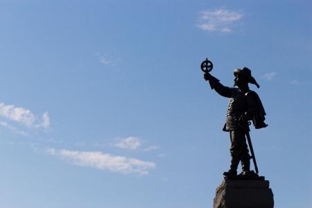 descubridor: Champlain Estatua en Ottawa, Canad� Foto de archivo