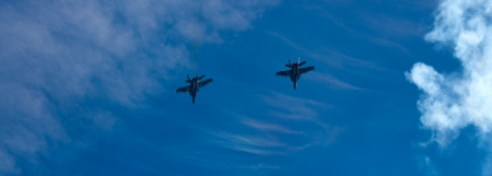 f18: Two F-18 Hornet figher jets over a blue sky Editorial