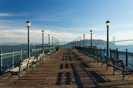 san fran: Peaceful dock background with copy space
