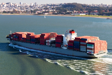 san fran: Container Ship in the San Francisco Bay