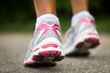 Running shoes close-up   Female runner  Stock Photo