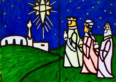 wisemen: Three Wise Men Nativity Scene artwork Stock Photo