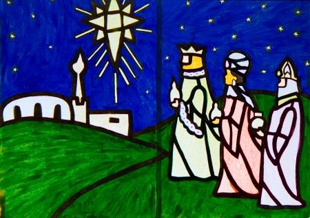 wisemen: Three Wise Men Nativity Scene artwork Stock Photo