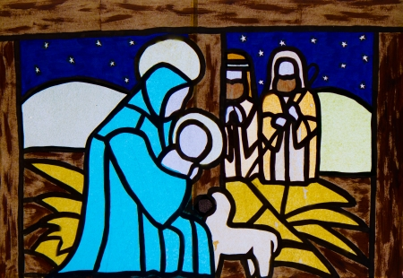 Manger nativity scene with the Virgin Mary