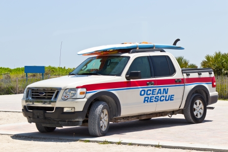 Lifeguard ocean rescue pickup truck