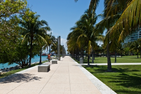 Walking path in the South Point Park in Miami, Florida 스톡 콘텐츠