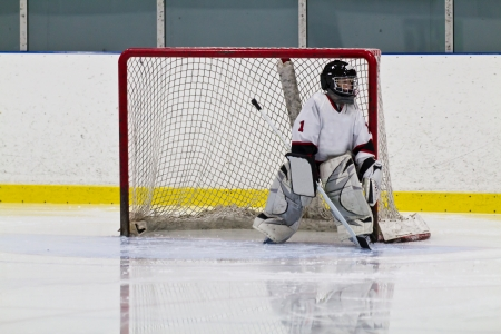Young hockey goalie playing in net photo