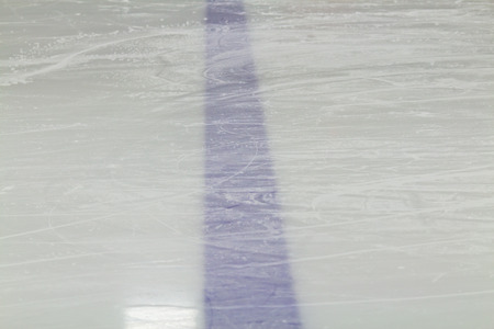 Blue line marking for hockey on ice Stock Photo