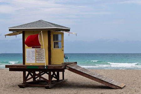 Lifeguard hut on Hollywood Beach in Florida photo