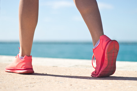 Close-up of a womans jogging shoes Stock Photo