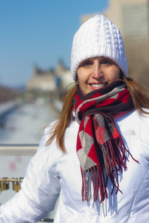 rideau canal: Portrait of a beautiful woman at the Ottawa Rideau Canal
