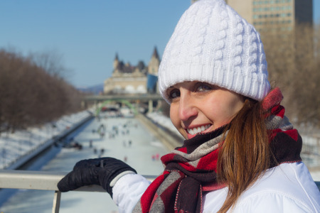 rideau canal: Winter portrait of a woman at the Ottawa Rideau Canal