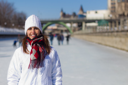 rideau canal: Portrait of a woman on the Ottawa Rideau Canal Skateway during winter