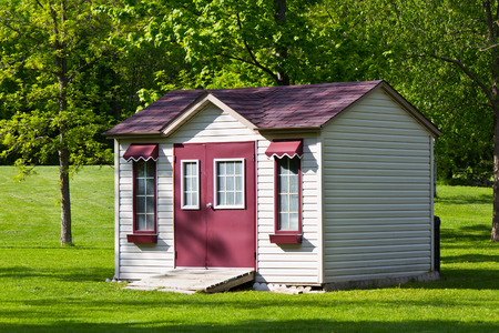 Storage shed in the backyard Stock Photo