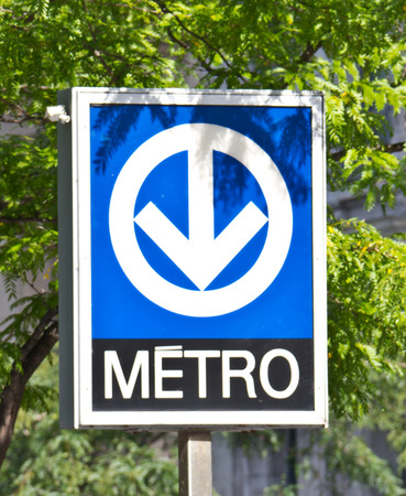 Distinctive signage for the Montreal Metro subway system Stock Photo