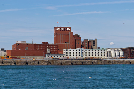 molson: MONTREAL, CANADA -  August 24, 2013: The Molson Brewery at the Old Port of Montreal on August 24, 2013 in Montreal, Canada
