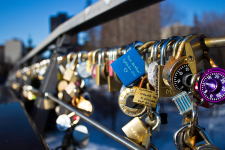 rideau canal: Lover locks on a bridge