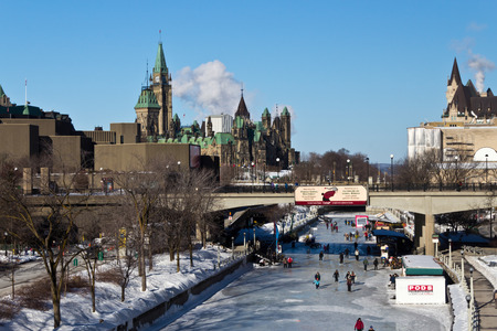 rideau canal: The Rideau Canal in Ottawa, Canada   Editorial