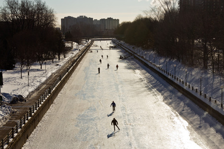 The Rideau Canal in Ottawa, Canada   Stock Photo