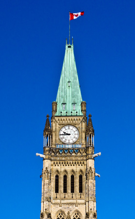 De Peace Tower op Parliament Hill in Ottawa, Canada Stockfoto