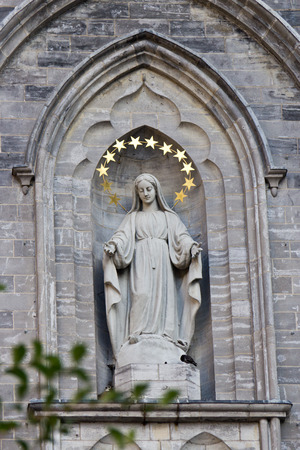 Statue of the Virgin Mary at the Notre-Dame Basilica in Montreal, Canada