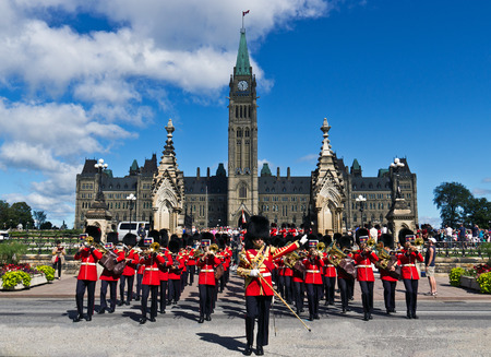 OTTAWA, ONTARIOCANADA - AUGUST 10, 2013: Changing of the Guard ceremony at Parliament Hill in Ottawa, Canada.