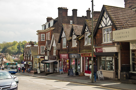 Shops and businesses on Station Road in Oxted, England