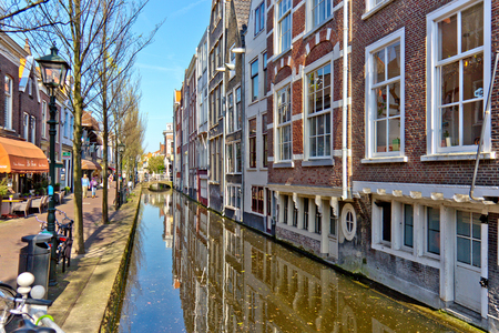 town centre: Water canal in the historic town centre of Delft, Netherlands