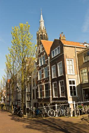 delft: Street scene in Delft, Holland Stock Photo