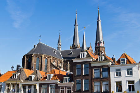 delft: Rooftop architectural details of historic building in Delft, Holland