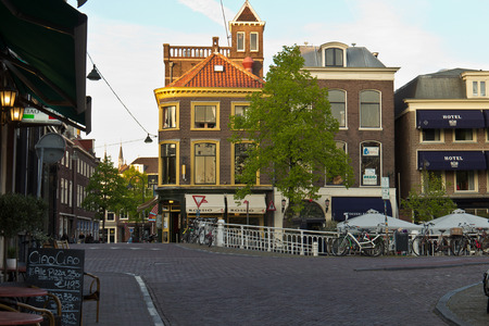 delft: Typical street scene in the city of Delft, Netherlands