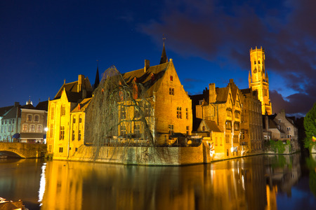 blue hour: Iconic view of Bruges, Europe during the blue hour