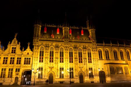 The Burg Square in Bruges, Belgium during the evening