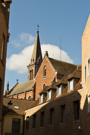 Variety of rooftops in the european city of Bruges