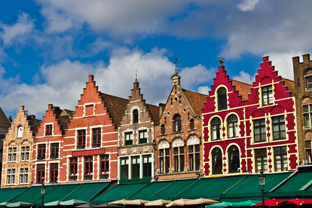 benelux: Colorful buildings in the Market Square in Bruges