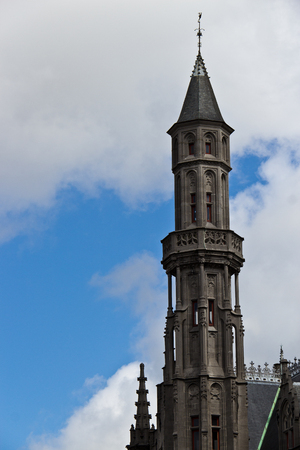 Neogothical architecture details of the Provincial Hof in Bruges 版權商用圖片