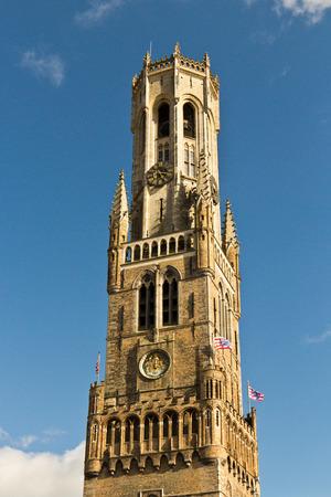 belfort: Belfort (Belfry) clock tower details in Bruges, Europe