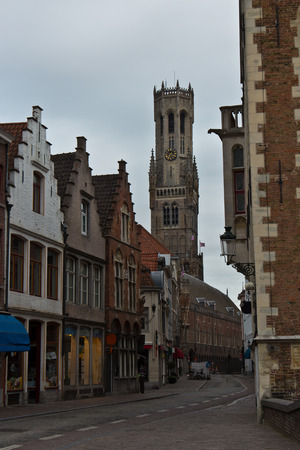 bruges: Old medieval street in Bruges, Belgium