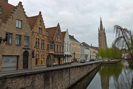 Street and canal in the medieval town center of Bruges